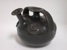 Beatrice Wood, Black Spiral Teapot, 1980