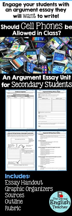 Argument Essay Unit - Should Cell Phones be Allowed in Class? This argument essay is sure to get your secondary students engaged! Should cell phones be allowed in class? Writing Strategies, Essay Writing Tips, Writing Lessons, Writing Skills, Writing Ideas, Creative Writing, Argumentative Writing, Persuasive Writing, Teaching Writing