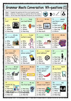 Grammar Meets Conversation: Wh-questions (1) - Getting To Know You | FREE ESL  worksheets