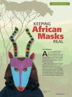 Keeping African Masks Real #Elementary #ArtLesson #ArtEd #Masks #Maskmaking