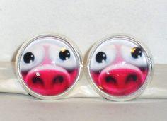 Ohrstecker - Ohrstecker Schwein Damen Ohrringe Ohrschmuck Glas - ein Designerstück von ausgefallene-Ohrringe bei DaWanda