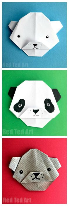 Easy Origami Bear for Kids. We love paper crafts for kids.. and these oh so cute paper bears are quick and easy to learn how to make.. then decorate them as Polar Bears, Panda Bears or Grizzly Bears. Lovely and easy orgami bear for beginners!!! #PaperCrafts #Origami #EasyOrigami #Origamibear #bear #paperbear