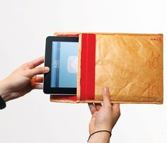 tablet sleeve that looks like a package.