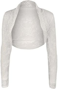 0227d39a63b Womens Plus Size Lace Long Sleeve Ladies Shrug Bolero Cropped Cardigan Top  - White - 24