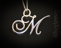 ON SALE M Initial Necklace Sterling Silver Pendant by SilverTrove
