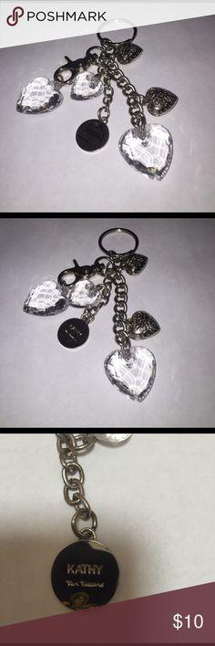 🆕 Kathy Van Zeeland Keychain Kathy Van Zeeland Keychain - Keychain with silver toned and clear acrylic heart charms! Claw and easy clasp. Kathy Van Zeeland Accessories Key & Card Holders