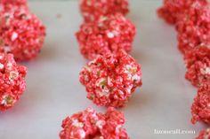 Jello Popcorn Balls (she: Liz) Jello Popcorn Balls Recipe, Popcorn Recipes, Spicy Popcorn, Gourmet Popcorn, Halloween Popcorn, Sweet And Spicy, Corn Syrup, Raspberry, Summer