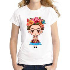 Women Short Sleeve Cartoon Mexican Frida Kahlo Shirt Printed Casual Fashion