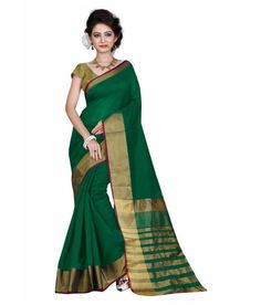 Women's Green Color Cotton Saree or Sari with Blouse and Golden Line Pattern Design From Vaibhav Laxmi Automation