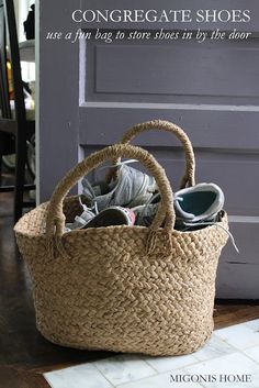 A Basket For Shoes By The Front Door