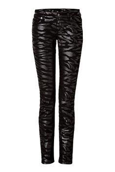 MCQ ALEXANDER MCQUEEN Jeans in Black Tiger Stripe