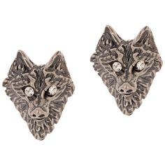 Tom Binns Wolf Stud Earrings ($116) ❤ liked on Polyvore featuring jewelry, earrings, accessories, metallic, butterfly clasp earring, monarch butterfly earrings, clasp earrings, butterfly earrings and tom binns earrings