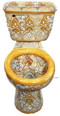 Mexican toilets: hand painted toilet WC Bathroom Toilets, Bathroom Fixtures, Small Bathroom, Bathroom Sinks, Plumbing Fixtures, Bathroom Renovations, Cool Toilets, Walk In Shower, Mellow Yellow