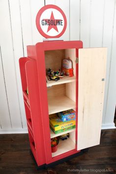 a diy tutorial to build a gas pump style bookshelf for kids thats my letter