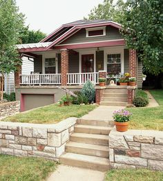 This house was given a fresh coat of olive paint with white and cranberry trim, a sufficient departure from the surrounding greenery: http://www.bhg.com/home-improvement/exteriors/curb-appeal/craftsman-style-home-ideas/?socsrc=bhgpin030514brickcraftsman&page=9