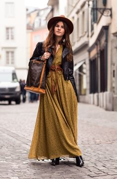 leather belt with maxi dress and leather jacket