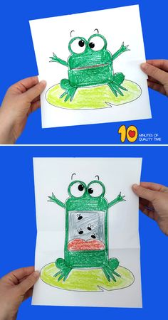 Surprise Folding Paper - Frog paper paper napkins paper to the moon Craft Activities For Kids, Diy Crafts For Kids, Projects For Kids, Summer Crafts, Craft Projects, Daycare Crafts, Toddler Crafts, Art Drawings For Kids, Art For Kids