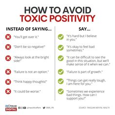 Alternate phrases to avoid toxic positivity : coolguides Mental And Emotional Health, Social Emotional Learning, Mental Health Awareness, Emotional Awareness, Positive Mental Health, Self Care Activities, Self Improvement Tips, Coping Skills, Emotional Intelligence