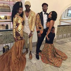 Prom in African pride African Attire, African Wear, African Dress, African Fashion, Prom Outfits, Homecoming Dresses, African Prom Dresses, Prom Couples, Style Africain