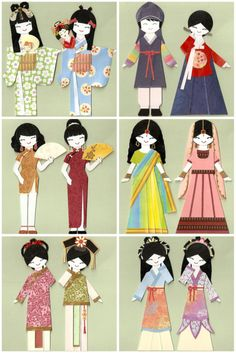 Around the world paper dolls