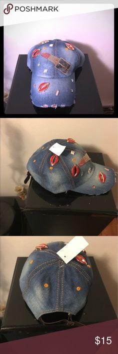 Pretty Denim lipstick designs baseball cap Blue Denim lipstick and lips cap Accessories Hats