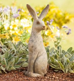 Tall Bunny Statue Yard Decor Spring Summer Rabbit Patio Porch Landscape New - All For Garden Fairy Statues, Garden Statues, Garden Sculptures, Outdoor Statues, Rabbit Sculpture, Stone Sculpture, Garden Art, Garden Ideas, Bunny