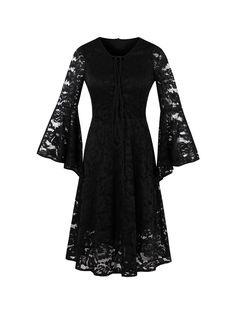 Ericdress Lace Holow Flare Sleeve A Line Little Black Dress|Material:Lace