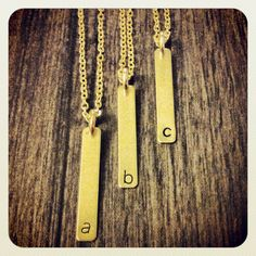 Brass bar initial pendant by houndstoothandnail on Etsy, $14.00