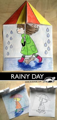 RAINY DAY The Effective Pictures We Offer You About edible Spring Crafts For Kids A quality picture can tell you many things. You can find. Weather Crafts, Rainy Day Crafts, Spring Crafts For Kids, Art Drawings For Kids, Drawing For Kids, Art For Kids, Mandala Halloween, Spring Art, Preschool Activities