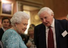 Queen Elizabeth II and Sir David  Attenborough attend a reception to showcase forestry projects that have been dedicated to the new conservation initiative The Queen's Commonwealth Canopy (QCC) at Buckingham Palace on November 15, 2016 in London, England.