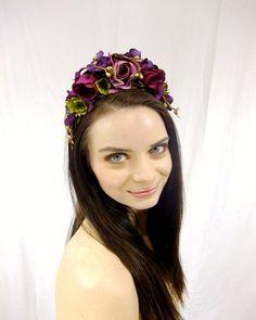 Purple Flower Crown Dark Purple Flower Circlet by RuthNoreDesigns