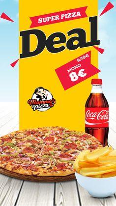 🍕Απολαύστε 1 Οικογενειακή pizza επιλογής+1 Μεγάλη μερίδα πατάτες +1 coca cola 1lt από 9.70€ ΜΟΝΟ 8€‼️ Super Pizza, Pepperoni, Coca Cola, Food, Coke, Essen, Meals, Yemek, Cola