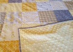 Gender Neutral Giraffe Baby Quilt in Yellow and Gray Giraffe