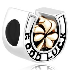 patrick' s day heart shamrock three leaf clover good luck horseshoe silver plated beads charms bracelets fit all brands Image. Good Luck Clover, Good Luck Horseshoe, Three Leaf Clover, Pandora Style Charms, Pandora Bracelets, Charm Bracelets, Clover Flower, Gold Chains For Men, Cheap Beads