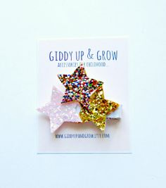 Glitter Hair Clip  Star Hair Clip Giddy Up and by giddyupandgrow, $14.00