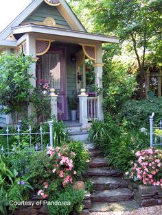 Victorian style cottage with a lush garden. Fairytale Cottage, Storybook Cottage, Garden Cottage, Cozy Cottage, Cottage Homes, Cottage Porch, Porch Garden, Cottage Stairs, Irish Cottage