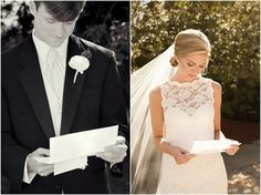 For before the ceremony - bride and groom reading letters written to each other - would make a really cute picture after side by side