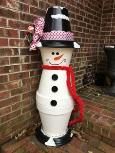 My clay pot snowman