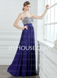 A-Line/Princess Sweetheart Floor-Length Chiffon Prom Dresses With Ruffle Beading Sequins (018004908) - JJsHouse