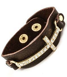 $25 Order by 12/18 & get in time for Christmas. Diamond Cross Leather Band Bracelet - Brown