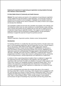 Literature Review For Thesis - Opinion of experts