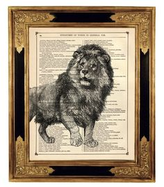 Lion Animal Natural History  Vintage Victorian by curiousprintery