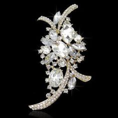 Vintage Inspired Fancy Cuts Crystal Rhinestone Goldplate Brooch (Sparkle-1704-U)