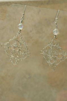 Crochet Silver Copper Wire Earrings with Crystal by LesleyPridgen, $15.00