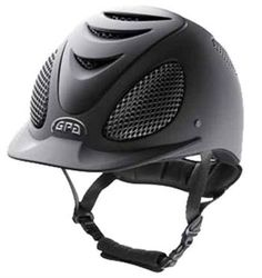 GPA Speed Air Evolution. This helmet is popular in the jumper ring, and has great ventilation so you can avoid that 'helmet head' smell in the summer :)