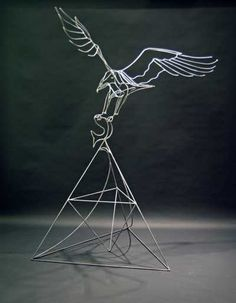 Eagle and fish in wire
