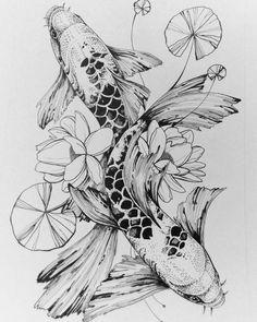 Yana Lee, art I like the dot work and would want 32 scales shaded Koi Fish Drawing, Koi Fish Tattoo, Fish Drawings, Art Drawings, Carp Tattoo, Tattoo Ink, Art Koi, Fish Art, Tattoo Sketches