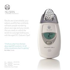 Amedical skin care solution.  Featuring two interchangeable conductors, a large LED display, easy-to-use design, and ergonomic feel, Nu Skin® Facial Spa uses microcurrent technology to stimulate and tone your skin. Nu Skin, Conductors, Anti Aging Skin Care, Facial, Spa, Medical, Display, Technology, Easy