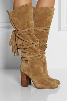 Suede fringe strappy boots