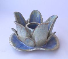 Lotus Flower. Ceramic candle holder like Water Lilies or vase for short flowers. on Etsy, make into candle holder